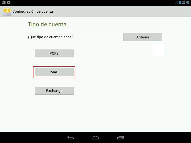 Elegir cuenta de tipo IMAP