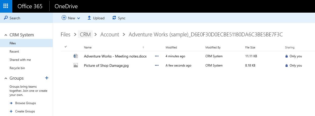 Integración de OneDrive con CRM