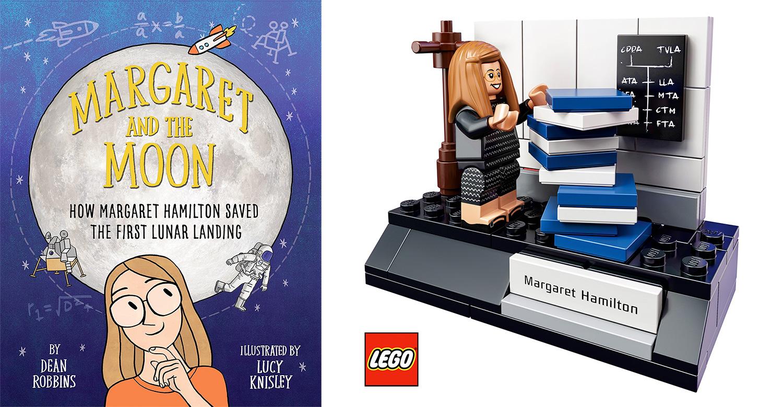 Portada del cuento «Margaret and the Moon» y Set de LEGO «Mujeres de la NASA», dedicado a Margaret Hamilton (Fuente: Knopf Books for Young Readers y LEGO).