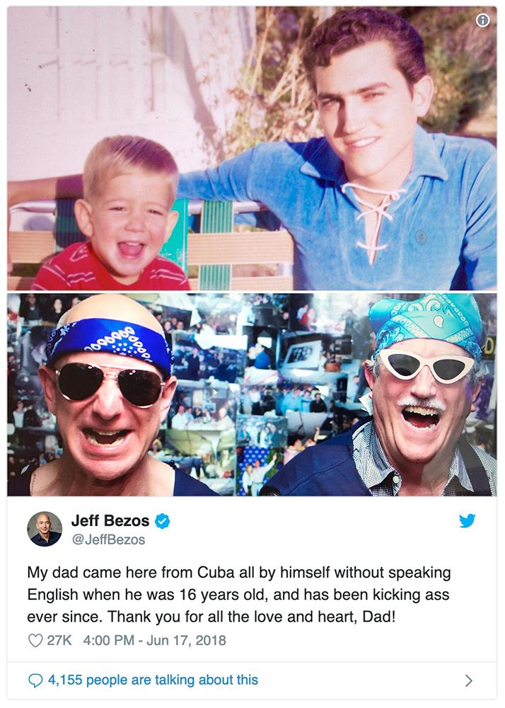 Jeff Bezos y su padre Mike