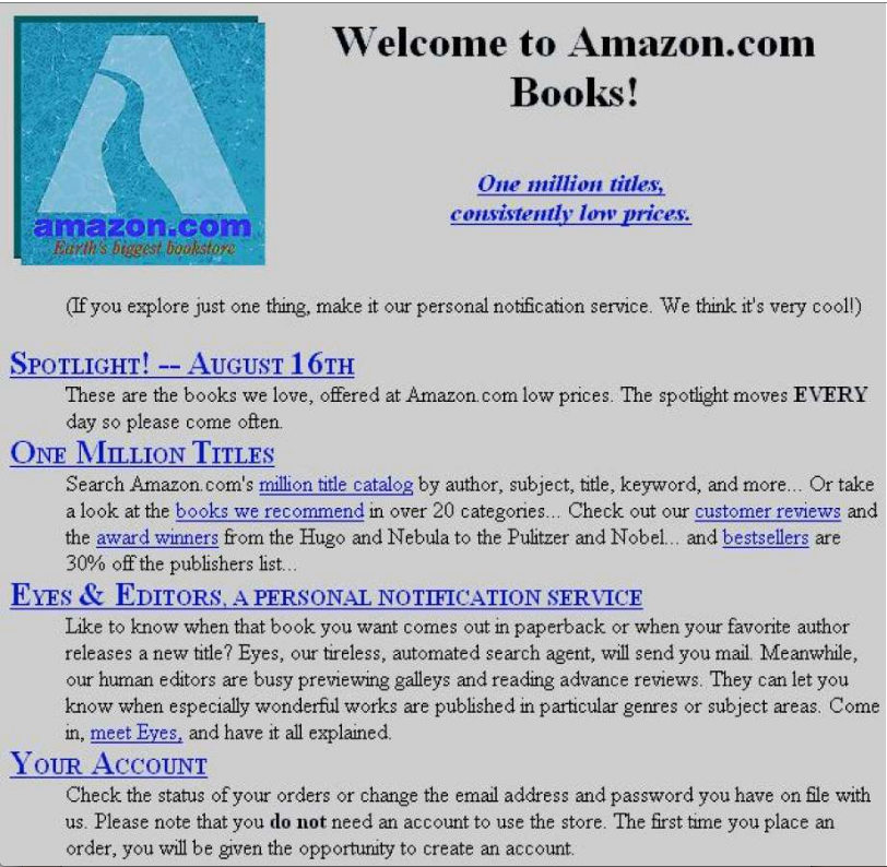 Primera web de Amazon